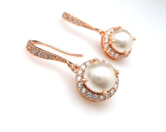 bridal wedding rose pink gold earrings half round white cream ivory swarovski pearl center halo round cubic setting drop with rose gold hook