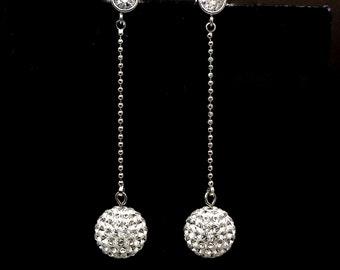 bridal earrings wedding jewelry bridesmaid gift swarovski clear white 10mm rhinestone pave ball rhodium round cz post dangle earrings