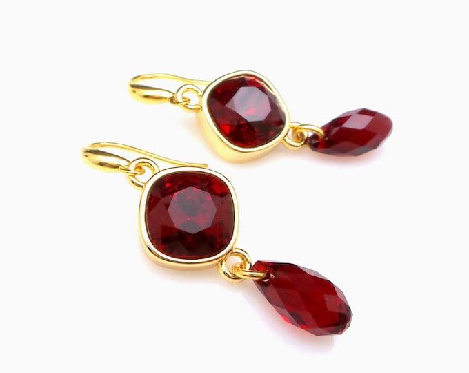christams earrings bridesmaid gift prom Swarovski Red siam teardrop briolette crystal rhombus fancy rhinestone gold sterling silver hook