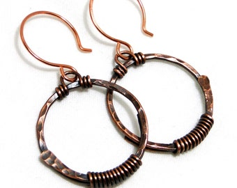 Circle Earrings, Hammered Jewelry, Copper Wire Jewelry, Handcrafted Earrings