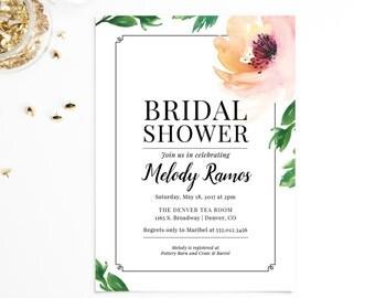 Bridal Shower Invitation | Watercolor Rose Invitation | MELODY