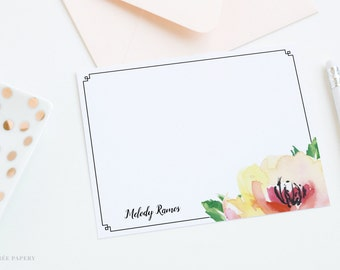 Personalized Notecard Set | Flat Notecard Set | Personalized Stationery | Watercolor Notecards | Melody