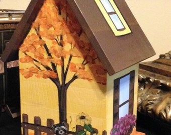 Autumn Painted Birdhouse, Personalized, Fall