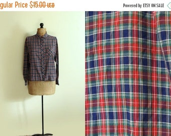 50% OFF SALE SALE vintage shirt blouse plaid 1970s navy blue green red size clothing large l