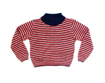 vintage childrens sweater girls boys retro striped 1970s red white blue 70s clothing size 8 10