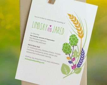 Mellow: Eco friendly wedding invitation/ wheat field / rustic summer garden / colorful leaves / recycled paper [DEPOSIT]