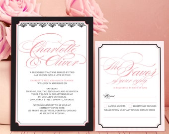 Chloé: eco-friendly wedding invitation, blushing pink and black, calligraphy, metalic silver paper, romantic, contemporary & classy