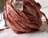 Sari Silk Recycled Ribbon in a Faded Coral Blend