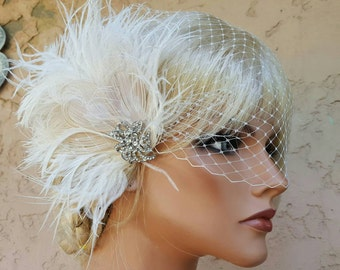 Wedding Fascinator, Feather Hair Clip, Ivory Fascinator, Bridal Hair Fascinator,Vintage Style Fascinator, Great Gatsby, AND French Net Veil