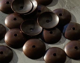 20 Copper Bead Caps 10mm
