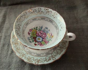 vintage Rosina bone china CUP and SAUCER -  blue, Made in England