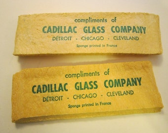 2 vintage advertising SPONGES - Cadillac Glass Company - Detroit, Chicago, Cleveland, printed in France