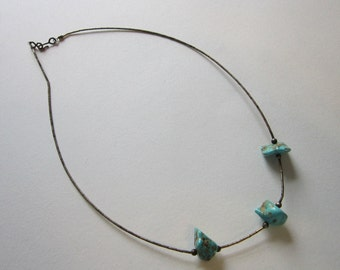 vintage turquoise and silver necklace - liquid silver, turquoise nuggets - 17 inches - choker, sterling silver beads