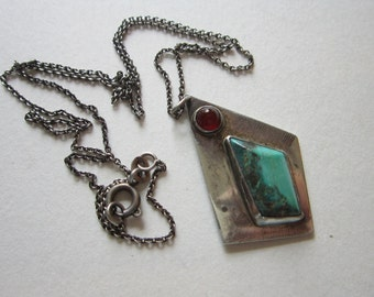 vintage handmade pendant - sterling silver and turquoise - chain clasp marked 835