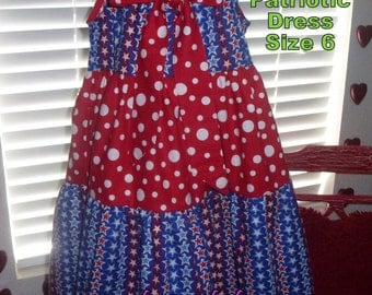 Patriotic Stars Flutter Sleeve Dress Ready to Ship in Girls Size 6 Fourth of July Dress, July 4th Dress Red White and Blue Girls Dress