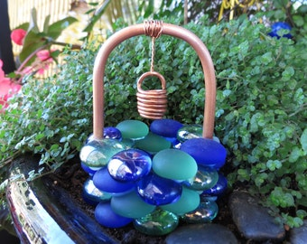 Miniature Garden, Outdoor Fairy Garden, Accessory, Wishing Well, Mossy Water Glass Drops, Copper & Glass Wishing Well