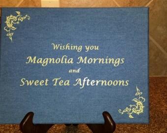 Fun Denim Canvas Print Sweet Tea Magnolia Mornings