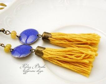 Tassel-Enamel earrings  - copper - gemstones - Ethnic - Gypsy - yellow - blue - ooak