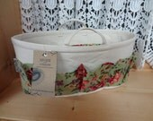 Purse ORGANIZER Insert SHAPER / With handles / Cottage Floral on Natural / Size MEDIUM / 12 x 4.25 x 6H oval / Sturdy / Ready to Ship