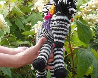Zebra, zebra stripes are unique like human finger prints, stuffed zebra, Ready to Ship, hand knit, zebra plush
