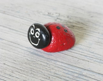 Painted Rock LadyBug, Hand Painted, Vintage Lady Bug, Insect Art, Handmade Love Bug, Six Spots, Red and Black, Smiley Face Lady Bug
