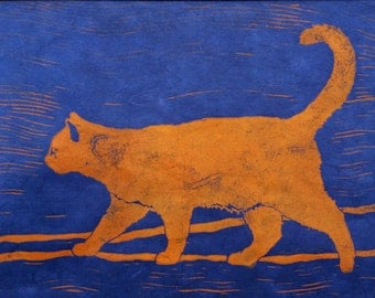 Orange Cat on Cobalt, Turquoise, Brown, or Green - Original Linocut Print