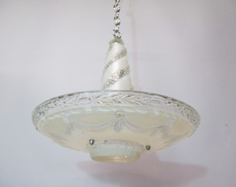 Vintage 1920's 30's Art Deco Chandelier  Ceiling Light Fixture Ornate Frosted and Swirled Glass Shade