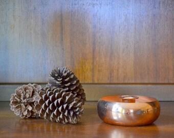 vintage copper candle stick holder / coppercraft guild / fall decor / vintage rustic home decor