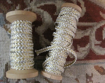 Vintage New Old Stock Braided Creme Silk and Gold Cordage on Original Spools Made in France Lame' Trim Edging Embellishment Bridal Dolls