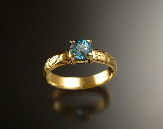 Blue Zircon 5.5mm round Wedding ring 14k Yellow Gold blue Diamond substitute ring made to order in your size