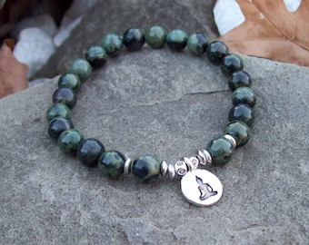 Kambaba Jasper Beaded Meditation Stretch Bracelet with sitting Buddha charm, stretch bracelet, yoga bracelet