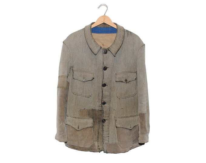 Vintage Handmade Distressed Grey Button Down Hunting Coat Made in France - Large (os-ewj-7)
