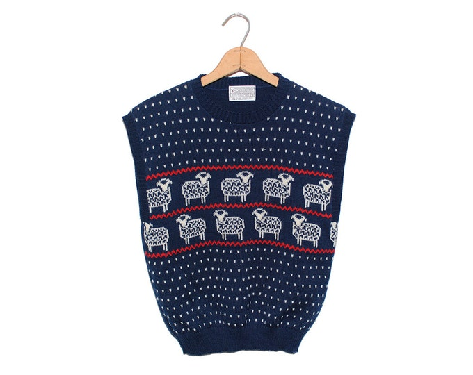 Vintage Pendleton Navy Blue Sheep Pure Virgin Wool Holiday V-Neck Sweater Vest Made in USA - Small