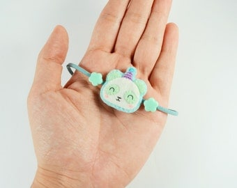 Felt Bracelet / Panda Bracelet / Kawaii Panda Bracelet / Bear Bracelet / Adjustable Bracelet / Cute Panda Bracelet / Animal Bracelet