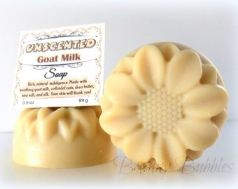UNSCENTED Goat Milk Soap with shea butter - handmade cold process - by bonny Bubbles