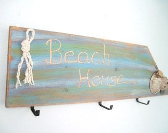 "Hand Made Painted Pine ""Beach House"" Coat Rack"