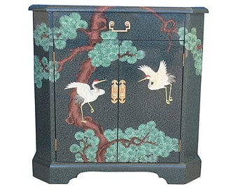 Chinoiserie Malachite Console Cabinet Chest