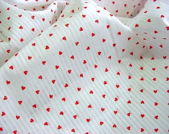 Little Red Hearts Vintage Fabric -Semi-Sheer White Stripe Sweet Romantic Cottage Flirty Aprons Clothing Quilts Home Decor 80s Lowenstein