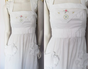 Rare Vintage 70s Young Edwardian White Cotton Eyelet Embroidered Crossover Back Maxi Sun Dress.Small.Bust 34.Waist 28.