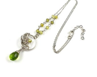 Green necklace, wire wrapped jewelry, gemstone small pendant, sterling silver jewelry