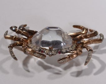 Trifari Jelly Belly Crab Brooch - 1940s Sterling Crown Mark - Alfred Philippe Pin