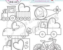 SALE Sweet Transport Cute Digital Stamps for Commercial or Personal Use, Valentine Truck Digital Stamp, Valentine Trucks Line Art