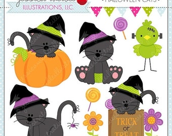 SALE Halloween Cats - Cute Digital Clipart for Commercial and Personal Use, Halloween Clipart, Halloween Graphics