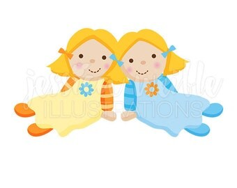 Twin Dolly Cute Digital Clipart, Play Dolls Clip art, Rag Doll Graphics, Twin Rag Doll Illustration, #297