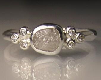 White Raw Diamond Engagement Ring, Raw Diamond Cluster Ring, Rough Uncut Conflict Free Diamond