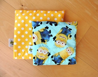 Lg/ Md Minnion Minion Set Reusable Snack Sandwich Bag Baggy with Water Resistant Lining
