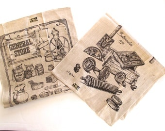 Vintage Kay Dee Linen Tea Towels in Ivory and Dark Brown, Set of 2