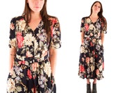 ARLO 90s Gorgeous Sweet Black Floral Earthy Belted Button Up Grunge Hip Folk Maxi Dress Gown Medium M