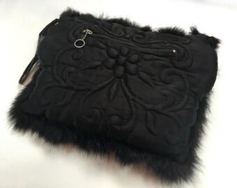 40s Rabbit Muff | Black Silk & Fur Evening Bag