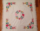Vintage Hand Embroidered Fringe Tablecloth Hungarian Kalocsa Flowers
